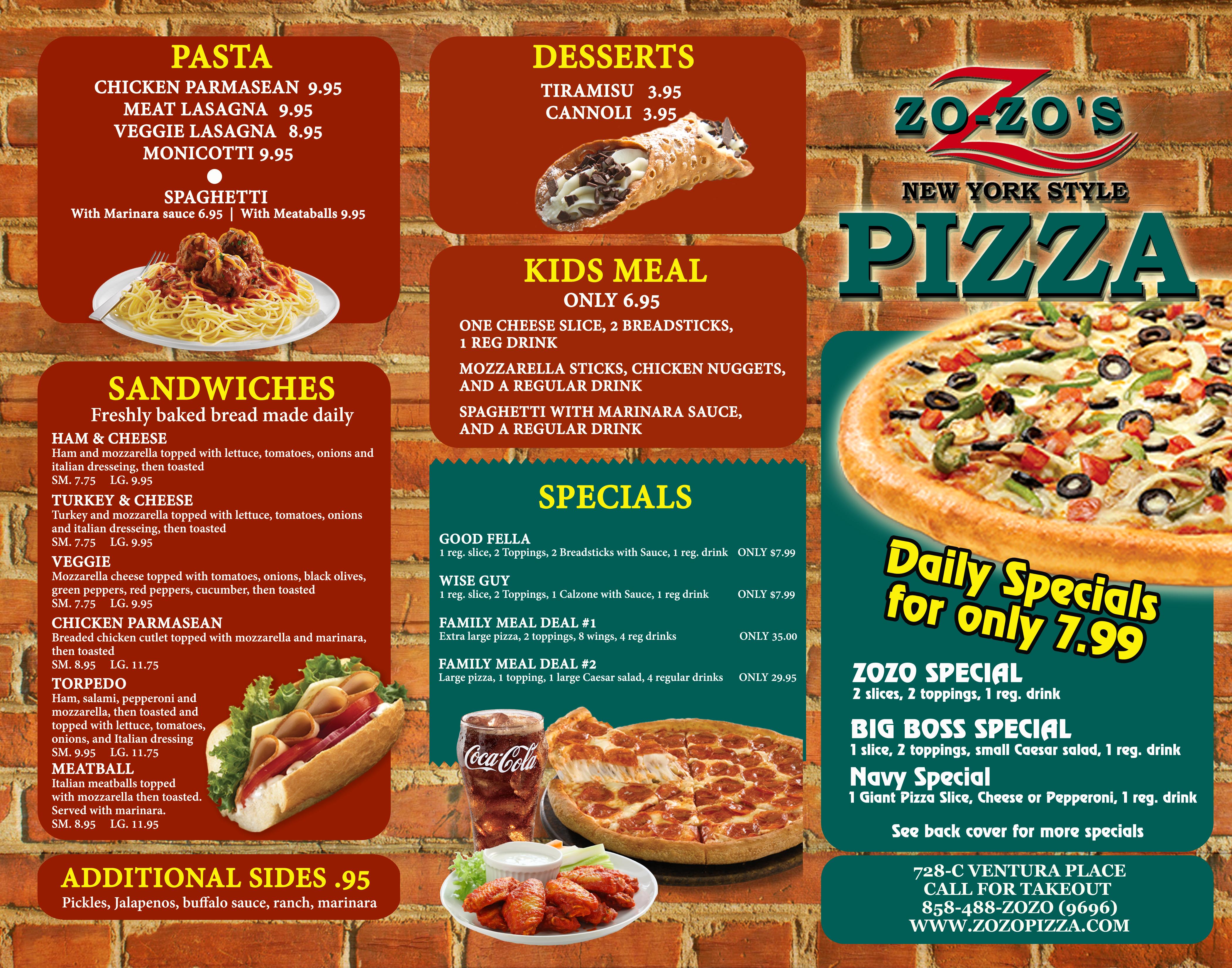 Z Pizza Mammoth Menu Menu - ZoZo PizzaZoZo ...
